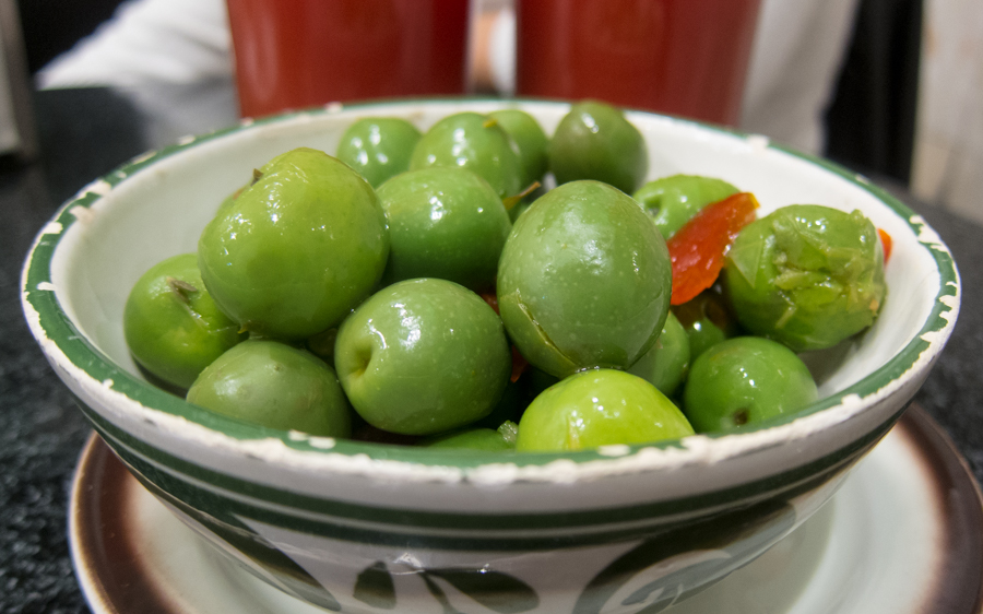 Green olives served as a tapa