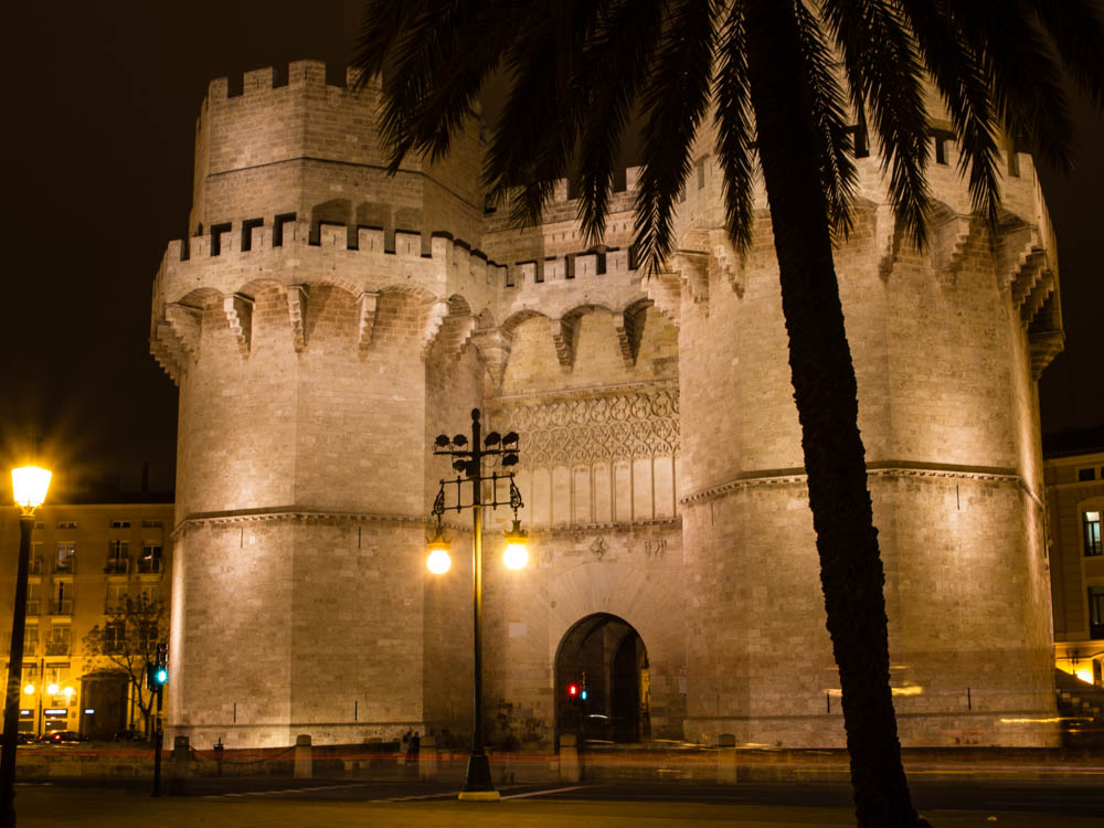 Serranos Gates in Valencia by night