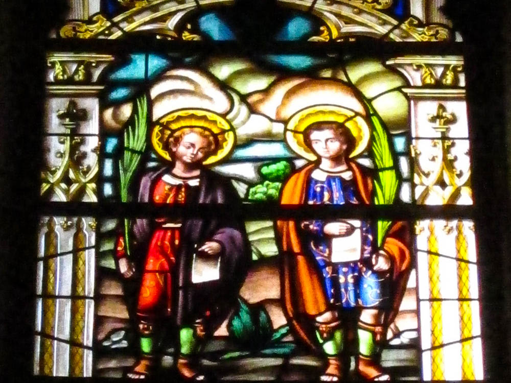 stained glass window at the Alcala Cathedral