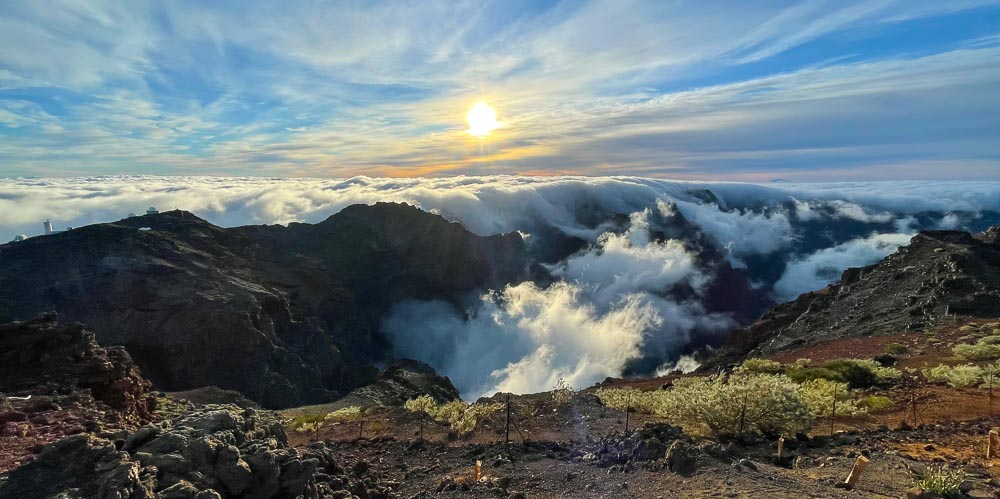 Sea of fog in top of a volcano