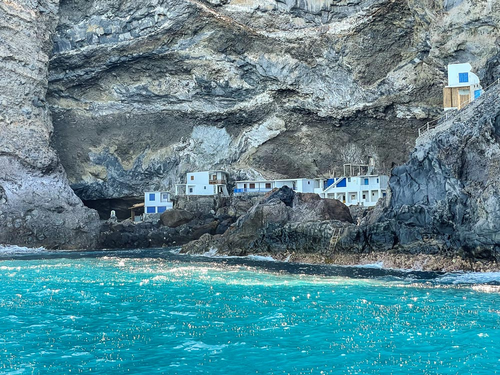 Town in a cave by the ocean in the Canary Islands