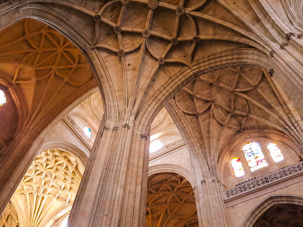 Gothic ceiling of the cathedral in Segovia