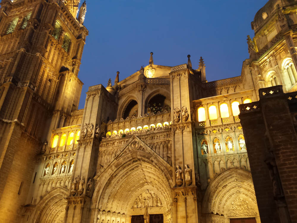 Cathedral illuminated by night