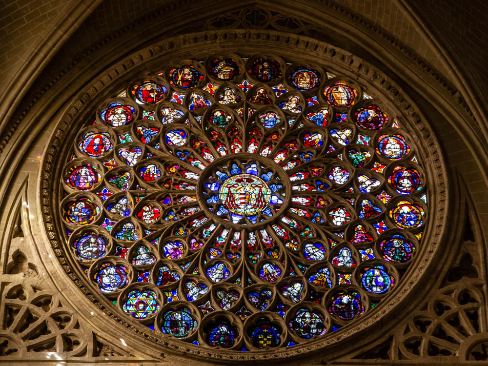 Rose Window inside the cathedral of Toledo